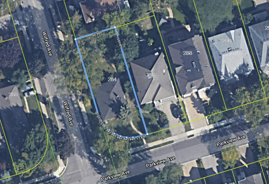 284 Parkview Avenue Aerial Map
